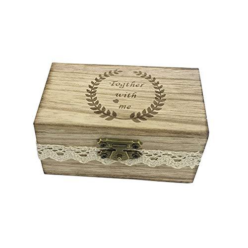 Souljewelry Caja Personalizada de Anillo de Boda Grabado con Nombres y Logo Madera Cofre Vintage de Joyería Caja de Regalo Personalizado