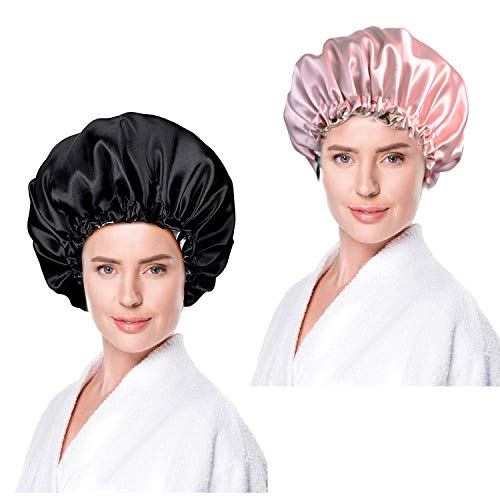 WELLXUNK® 2 Stück Sleep Cap, Doppelschicht Duschhaube, Nacht Motorhaube, Damen mit Langen Haaren Weiche Nachtmütze mit breitem Gummiband für Schlafen/Krebs/Chemo/Haar-Verlust Verpackung