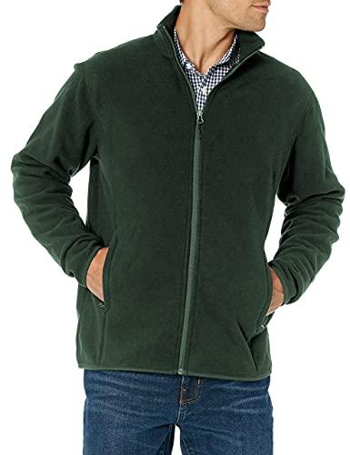 Amazon Essentials Herren Color Blocked Polar Full-Zip Mock Neck Jacke, waldgrün, M