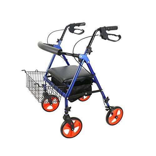 Y-L Rollators 4 Wiel Opvouwbare Hoogte Verstelbaar met Dubbele Veiligheid Remmen Verwijderbare Opbergtas Beperkte Mobiliteit Hulp