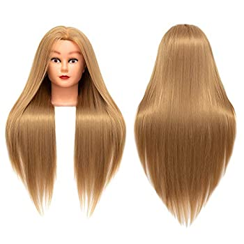 Cosmetology Mannequin Head Hair Styling 26-28inches Training Head Synthetic Fiber Manikin Head Doll Head with Clamp  27#