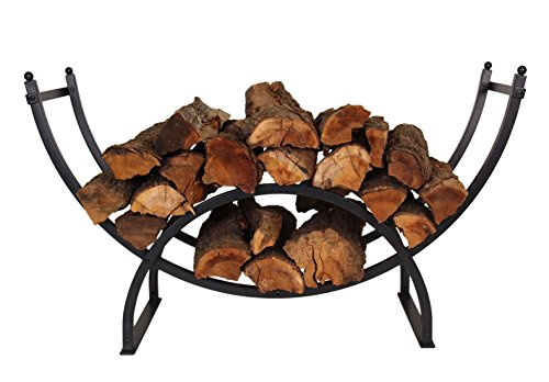 Patio Watcher 3-Foot Curved Firewood Rack Log Rack Firewood Storage Log Holder for Indoor Outdoor Backyard Fireplace, Heavy Duty Steel Black