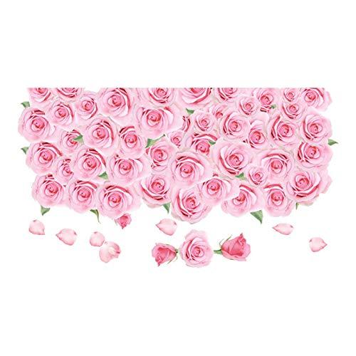 Romántico Rosa Rosa Flor Etiqueta De La Pared Decoración Pelar Y Pegar Dormitorio Flor Etiqueta De La Pared Etiqueta De Piso para Sala De Estar Baño Papel Tapiz