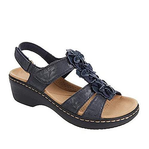 ZLZNX Sandalias Mujer Chanclas Tacon de Cuña Plataforma del Verano Cómodos bierta Sandalias Moda Zapatos Tacon para Caminar,Azul,38CN