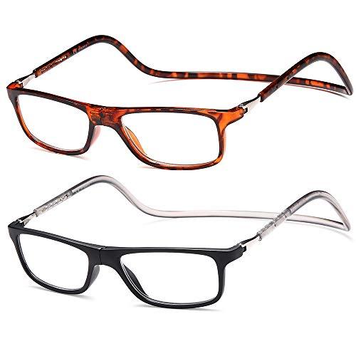 NEWVISION® 2 Pares Gafas de Lectura con Imán,Gafas Presbicia Vista,Plegables,Ligeras,Cierre Magnético,Para Mujer,Hombre...