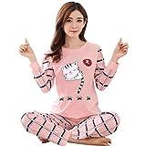 BESTOYARD 2 UNIDS Mujeres Chándal de Dibujos Animados Patrón de Gato Cuello Redondo de Manga Larga Pijamas Set Otoño Ropa de Dormir de algodón Loungewear Traje Homewear Tamaño M