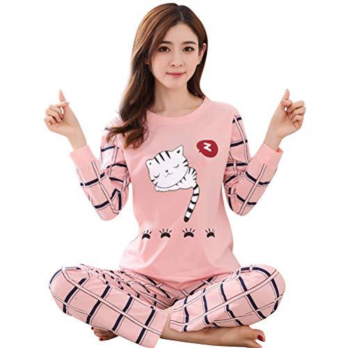 BESTOYARD 2 PCS Survêtement Femmes Dessin Animé Chat Motif Col Rond À ??Manches Longues Pyjama...