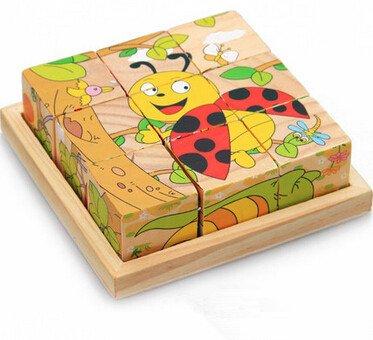 新品!動物昆虫  9コマ  木製のおもちゃ パズル 誕生日のプレゼント  おもちゃ 知育玩具  幼児教育アプリシリーズ  知識を増すおもちゃ雑貨  木制品 zqzb0260-6