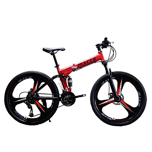 Folding Mountain Bike, Fast Delivery goalBY 24in Folding Outroad Mountain Bike Shimanos 21 Speed Bicycle Full Suspension MTB Bikes (Red)