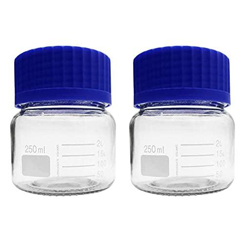 Botella de almacenamiento de medios botella de almacenamiento de medios redondos de vidrio conjunto de botellas de reactivo redondo tapa de rosca de tornillo de polipropileno azul 250 ml Paquete de 2
