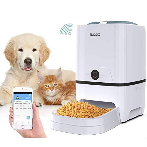 Iseebiz Comedero Automático Gatos Perros Dispensador de Comida WiFi con App Control, Recordatorio por Voz, 6litros