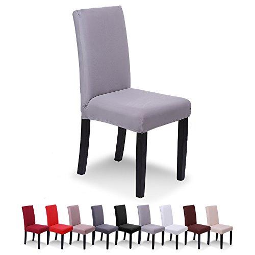 SaintderG® Fundas para sillas Pack de 6 Fundas sillas Comedor, Lavable Extraíble Funda, Muy fácil de Limpiar, Duradera Modern Bouquet de la Boda, Hotel, Decor Restaurante (Gris Claro, Pack de 6)
