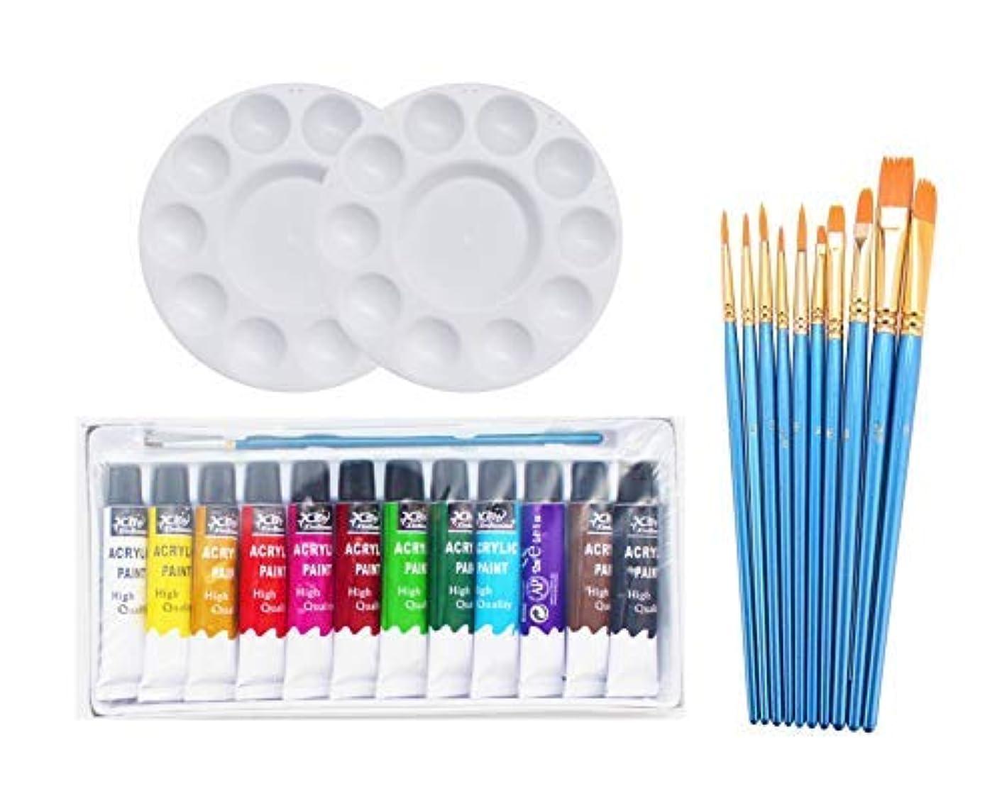SKKSTATIONERY 24 Pack Acrylic Paint Set, 10 Paint Brushes & 2 Palette & 12 Colors Acrylic Paint.