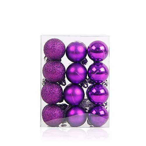 MoGist, 24 Palline Di Natale Opache, Glitterate, Lucide, Per Albero Di Natale, Decorazione Albero Di Natale, Lilla, 9*6*12Cm