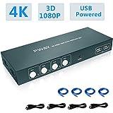 GHT HDMI KVM Switch USB 4 Port,4 Fach KVM Umschalter 4K @ 30Hz,4 PC 1 Monitor,YUV 4: 4: 4,Ultra HD,Unterstützung Drahtlose Tastatur Und Maus,Mit Kabel, GreatHTek