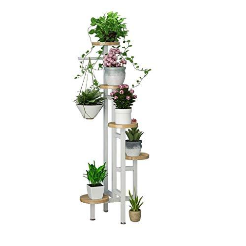 Vloer bloemenrek Indoor woonkamer balkon witte heavy-duty bloem stand metalen fabriek display patio stand 5 bloempot stand tuinberging rek buiten Eenvoudige bloempot meerlagige plank