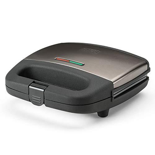 Black+Decker BXSA750E Sandwichera, Grill, 750 W, Acciaio Inox, Pantone 10394