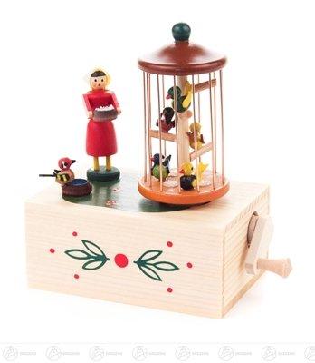 Musikdose Vogelkäfig – Klimperkästchen – Spieluhr – Spieldose - Holzspielzeug – Handarbeit aus dem Erzgebirge – NEU