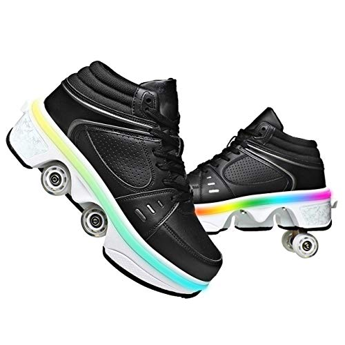 GGXINT 2 In1 Mehrzweckschuhe Schuhe Mit Rollen Inline-Skate Verformung Rolle Schuhe Turnschuhe Rädern Laufschuhe Outdoor-Sport Für Erwachsene Unisex,Black~led,34