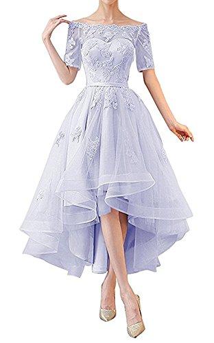 NOVIA Women's Off Shoulder High Low Wedding Party Dresses 1/2 Sleeves Vintage Bridesmaid Gown Lavender Size 10