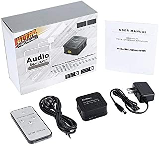 SPDIF TosLink Digital Optical Audio Switcher 3 In 1 Out Optical Audio Switch with Remote Controller 3x1 Digital Audio Splitter Support 5.1CH 5.1CH/ LPCM2.0/ DTS/ Dolby-AC3 by DotStone