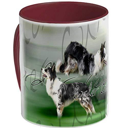 Taza de cerámica perro border-collie-arlequin, marrón