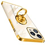 für iPhone 13 Pro Max Hülle Gold mit Ring Ständer Klar Kratzfest Flexibles Transparent TPU Dünn Handyhülle iPhone13ProMax Schutzhülle Hülle Cover (6,7 Zoll) - Golden