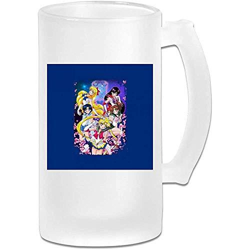 Tazza di birra Stein in vetro satinato 16oz stampata - Sailor Moon Super Group - Tazza grafica