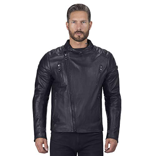 Viking Cycle Cafe Premium Black Leather Motorcycle Jacket for Men (Medium)