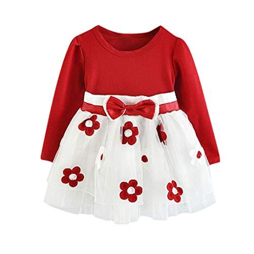 LUCKME Kleider für Mädchen Kinder Baby Mädchen Langarm Blumen Blumen Prinzessin Kleid T-Shirt Kleidung Set Kinder Kleider Mädchen Blume T-Shirt (100, Rot)