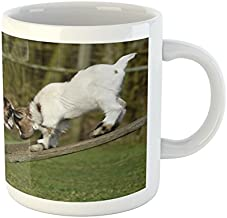 Ambesonne Animal Mug, 2 Little Baby Goats on a Bench with Their Horns Picture Image Design, Ceramic Coffee Mug Cup for Water Tea Drinks, 11 oz, Green White