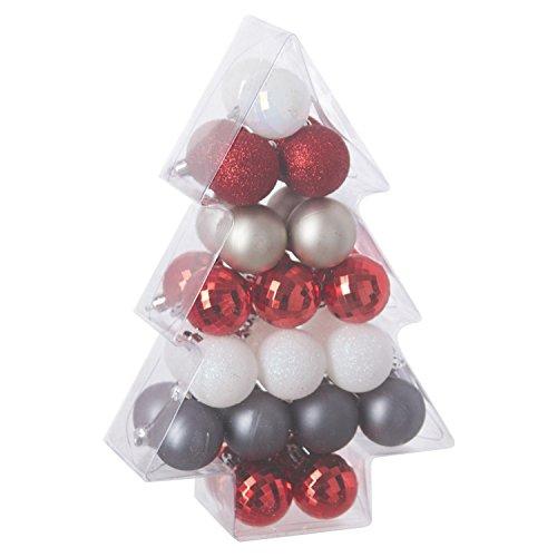 Féérie Lights & Christmas Kit déco pour Sapin de Noël - 34 Pièces - Rouge, Blanc et Argent