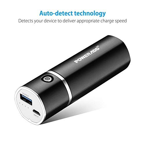 Poweradd Slim 2 5000mAh Ultra-compact Portable Power Bank External Battery Pack with ID Identify Tech for iPhone, iPad, Samsung Galaxy and More - Black