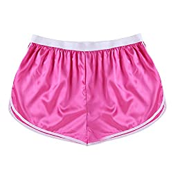 Men's pink satin boxer briefs.