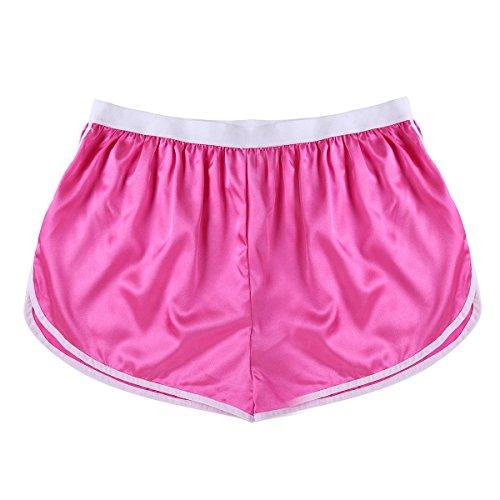 iEFiEL Herren Boxershorts Seide Look Glatt Sporthose Männer Unterhose Kurz Joggingshose Shorts Loose Hose M-XL Rose Medium