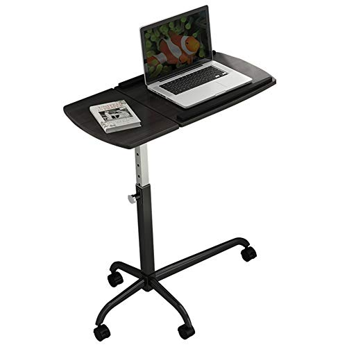 LQIAN Bett Rolltisch Multifunktions Beistelltisch Höhenverstellbar Mit Schwenkbarer Platte Bett-Tisch