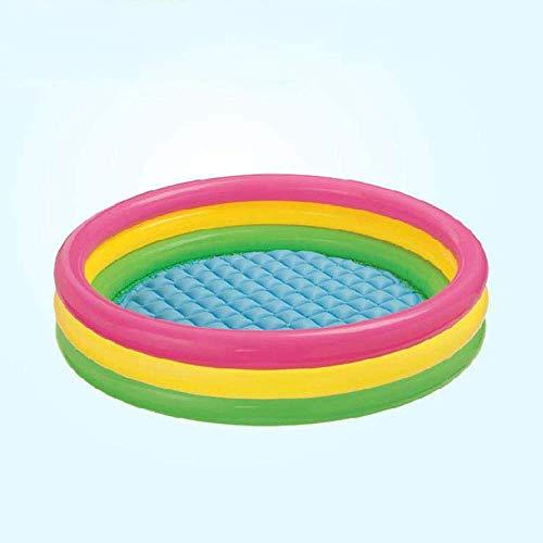 Piscina infantil inflable, 147 x 33 cm, piscina azul, playa, océano, 3 anillos de verano, piscina para niños, piscina de agua para bebé para diversión de verano, para edades 3+1
