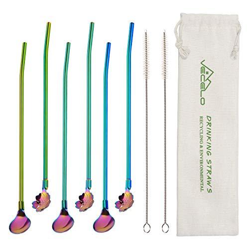 VECELO Strohhalm Edelstahl, 6 Stück Trinkhalme Longdrinklöffel mit Strohhalm Regenbogenfarben Wiederverwendbare Cocktaillöffel Set mit 2 Reinigungsbürsten