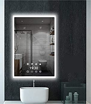 Foto di AUPERTO Specchio da parete a LED, 60 x 80 cm, illuminazione a LED, con presa di corrente, sensore touch, diverse modalità di illuminazione, colore a scelta bianco/bianco caldo/bianco caldo