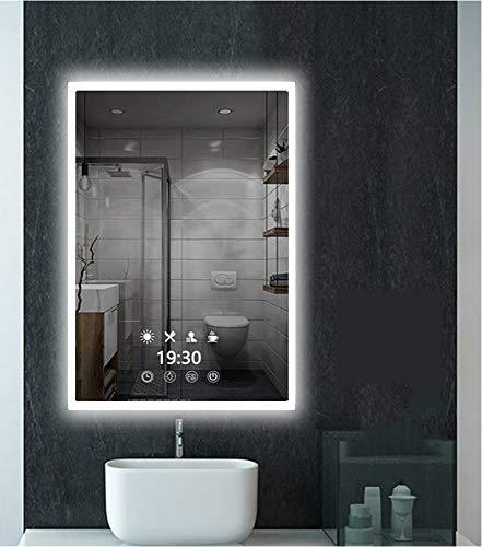AUPERTO LED-Uhr Wandspiegel Badezimmerspiegel - 60x80cm LED Beleuchtung Badspiegel mit Steckdose, Touchsensor, Mehrere Beleuchtungsmodi Farbe zu Wähle Weißes/Warmweiß/Warmes Licht