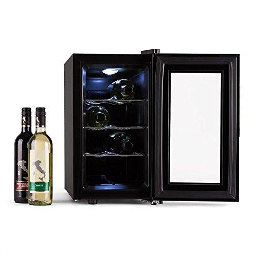Klarstein Reserva Piccola - cave à vin, réfrigérateur à boissons, 25 litres, 8 bouteilles, 3 inserts d'étagère chromés, éclairage intérieur réglable, autonome, silencieux, 8 à 18 ° C, noir