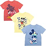 Disney Mickey Mouse Toddler Boys 3 Pack Short Sleeve T-Shirt Yellow/Red/Blue 4T