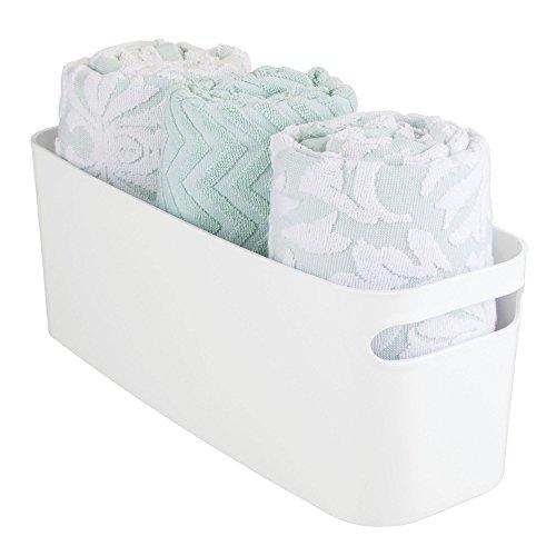 iDesign Una Bathroom Kitchen Storage Organizer Bin Basket 16x6x6 White