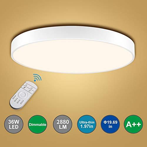 Bellanny LED Deckenleuchte, 36W 2880LM 3000-6000K Einstellbar LED Deckenlampe, Ø50cm LED Panel Deckenlampe, LED Innenleuchte lampe, für Küche Büro Arbeitszimmer Schlafzimmer Flur Balkon