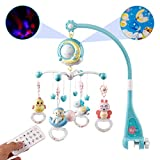 Mini Tudou Baby Musical Mobile Crib with Music and Lights, Timing Function, Projection, Take-Along Rattle and Music Box for Babies Boys Girls Toddlers