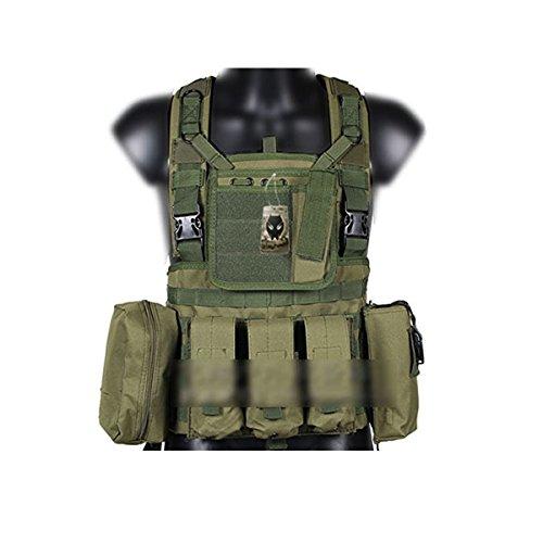 Worldshopping4U Softair Ejército Militar Combate táctico Molle RRV Chaleco con Bolsa para CS Airsoft Caza Camping al Aire Libre