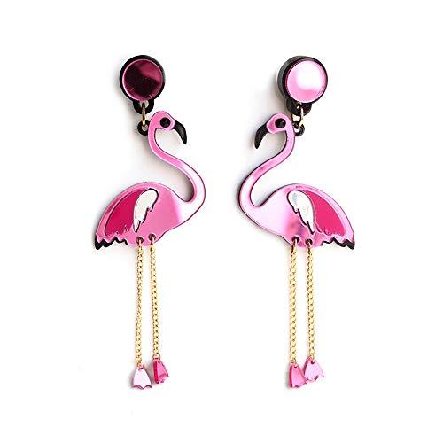 Rosa Flamingo Ohrring - CNNIK Kreativer Acryl niedlicher Ohrring - Leichte Mode moderner Stil Kostüm Ohrring