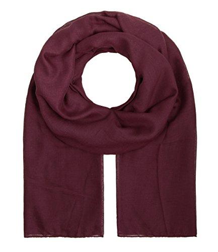 """Majea Tuch Aurora"""" großes Damen-Halstuch XXL Schal Damen Tuch Halstuch einfarbig uni unisex unifarben Schals und Tücher (weinrot)"""