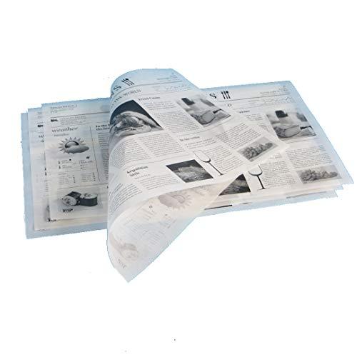 1000 Blatt Bio Einschlagpapier Hamburgerpapier Sandwichpapier Frischhaltepapier Pergamentersatz fettdicht Zeitung/mit Zeitungsdruck 25x38cm