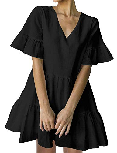FANCYINN Sommerkleid Damen Kurz Tunika Kleid V-Ausschnitt Volant Lockeres Swing Mini Kleider Schwarz